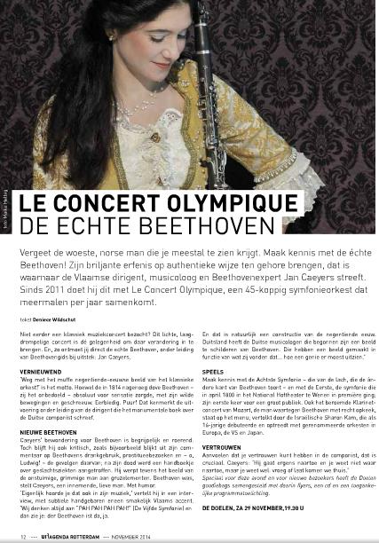 Le Concert Olympique, uitagenda november 2014